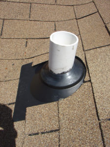 A pipe boot that had been replaced to stop a roof leak